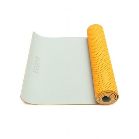 Коврик для фитнеса Ecofit MD9032 двухслойный перфорированныйTPE 1830*610*6 мм оранжево-серый