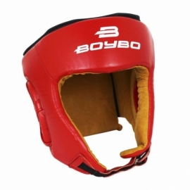 Боксерский тренировочный шлем BoyBo (кожа) красный SW4-73