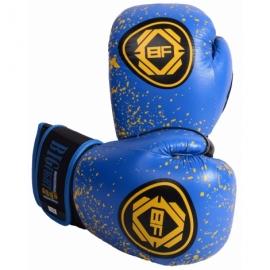 Боксерские перчатки сине-желтые BigFight кожа 14ун,16ун