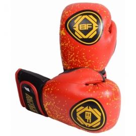 Боксерские перчатки красно-желтые BigFight кожа 10ун,12ун
