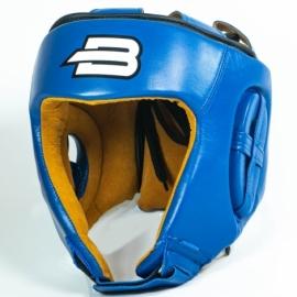 Боксерский тренировочный шлем BoyBo (кожа)синий SW4-74