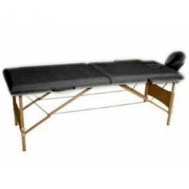 Массажный стол 2-х секционный (дерев.рама) чёрный Relax HY-20110